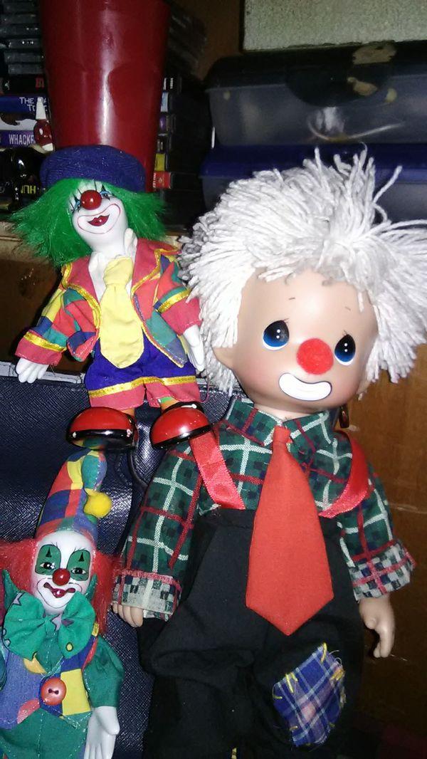Precious Moments w/ Two porcelain clowns...