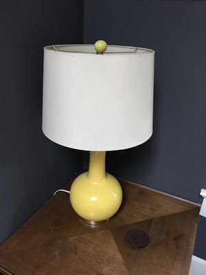 Vintage yellow lamp with white shade for Sale in Austin, TX