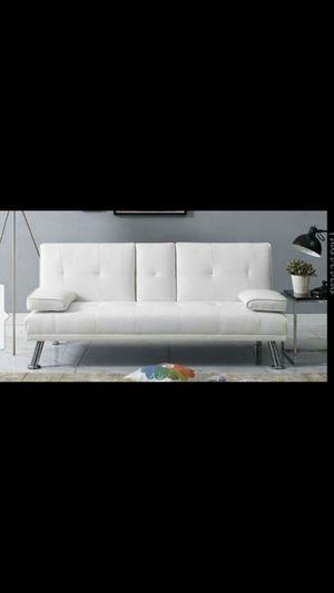 Cool White Leather Retro Style Futon/Sofa Loveseat for Sale in Phoenix, AZ