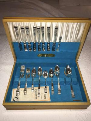 Tudor Plate 60pc Silver Plated Silverware Set with Wooden Box! for Sale in Carrollton, TX