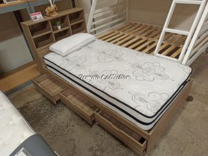 Twin 3 Drawer Chest Bed with Headboard, Dark Taupe, SKU# IDY1401/2TC for Sale in Norwalk, CA