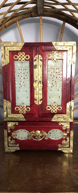 Rare Chinese rosewood jewelry treasure changhai box with brass accents hand carved jade medallions Brass lock Asian China Armoire jewelry box storage for Sale in San Diego,  CA