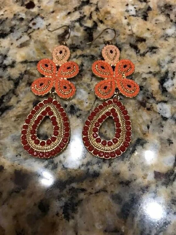 "Beautiful chandelier Set of Bead Earrings Boho Drop ""Stella&dot signed on back"