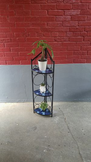 3-tier mosaic tiled corner display shelf/stand planter 44 inch tall blue for Sale in Silver Spring, MD