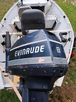 15' Drift Boat 8hp Evenrude And Trailer for Sale in Portland,  OR