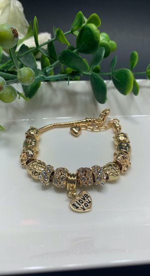 18K Gold Plated Austrian Crystal Rhinestone Star Love Heart Charm Bracelet, I love you for Sale in Los Angeles, CA
