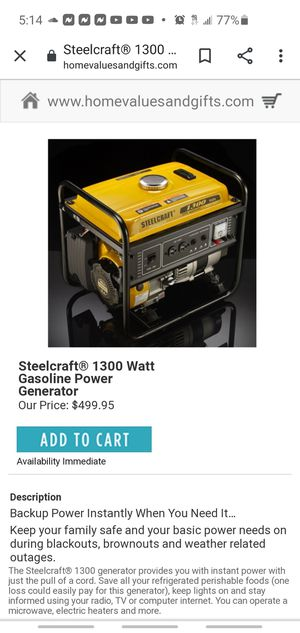 Steel craft generator 1300 watts , gas powered for Sale in Taunton, MA