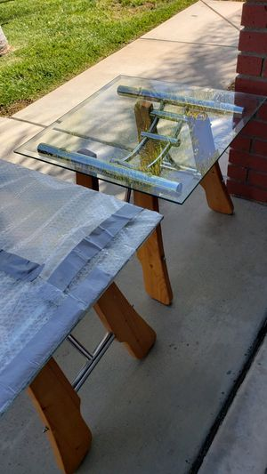 End tables , side tables. Blond wood with beveled glass tops. for Sale in Lake Elsinore, CA