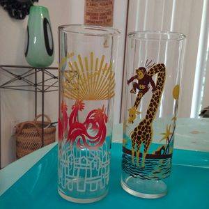 Federal Glass® Tall Cocktail Glasses / Rare Animal Motif for Sale in Winter Park, FL