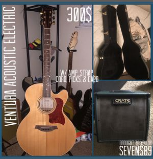 Ventura Acoustic Electric Guitar + Hard Case, Amp, Strap, Capo, Amp Cord, picks for Sale in Houston, TX