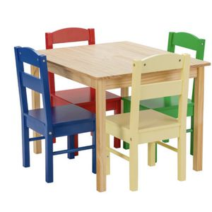 New Kids 5 Piece Table Chair Set Pine Wood Multicolor Children Play Room Furniture for Sale in Whittier, CA