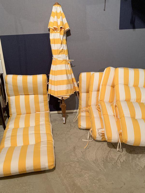 Outdoor Cushions and Umbrella