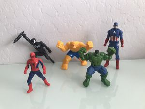 Superhero marvel Spider-Man hulk venom thing from fantastic four captain America happy meal toys cake toppers for Sale in Avondale, AZ