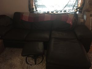 Small black leather sectional for Sale in Vancouver, WA