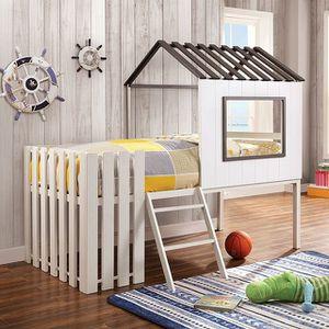 WHITE GRAY TWIN SIZE HOUSE DESIGN LOFT BED PICKET FENCE DREAM / CAMA CASA SENCILLA for Sale in Downey, CA