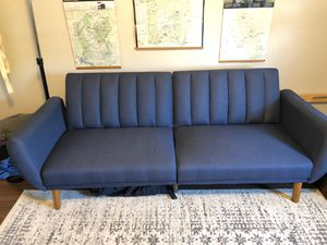 Mid century modern blue couch futon for Sale in Brookline, MA