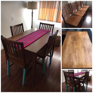 Boho Solid Mahogany Wood/Wooden Rectangle Dining/Kitchen Table and Chairs for Sale in Bellflower, CA