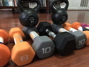 New dumbbells and kettlebell for Sale in Garland, TX