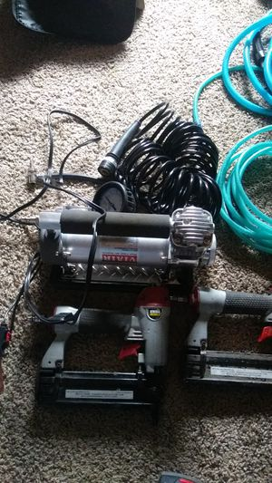 Viair portable compressor with two nail guns for Sale in Midvale, UT
