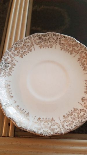 Beautiful decor antique china small plates gold leaf trim and 2 tea cups for Sale in Portland, OR