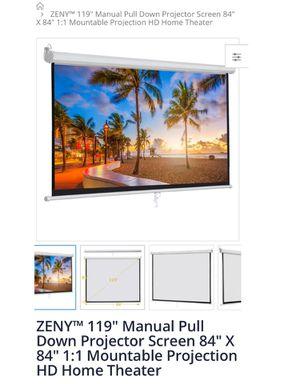 """Projector Manual Screen 84""""x 84"""" for Sale in Montebello, CA"""