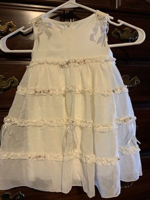 Girls size 2T sheer cream dress with pink flowers for Sale in Hutto, TX