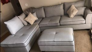 Brand New Light Grey Sectional Sofa Couch w/Storage Ottoman for Sale in Kensington, MD