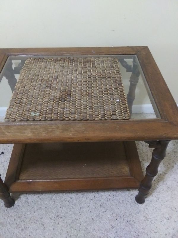 Glass Top Wood Table