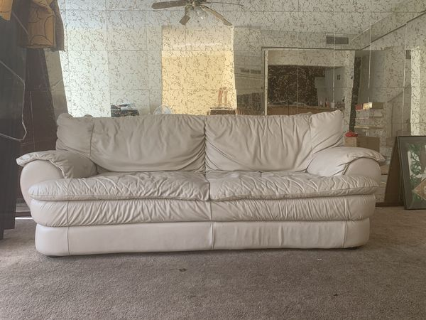 Leather Sofa Cream / Off White (Couch)