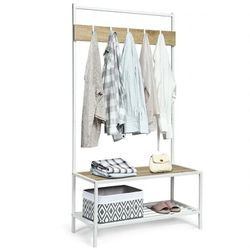 3 In 1 Industrial Coat Rack With 2-Tier Storage Bench And 5 Hooks-Natural HW62864NA for Sale in Whittier,  CA