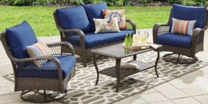 New!! 4-Piece Outdoor Conversation Set, blue, lounge furniture, patio chairs, patio set, outdoor lounge chairs, for Sale in Phoenix, AZ