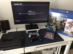 PS4 Slim 1TB Black Two Controllers with HP 24m monitor for Sale in Kissimmee, FL