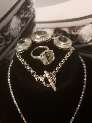 Vintage solid silver real peridot set .. ring sz 7 for Sale in Meriden, CT