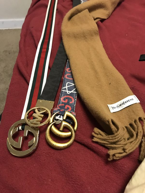 3 belts & ysl scarf