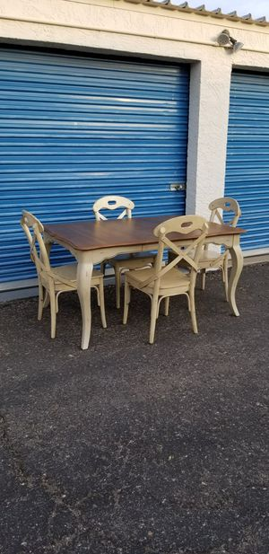 Pier 1 Imports distressed style dining table with 4 chairs. for Sale in Phoenix, AZ