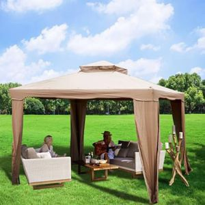 SHIPPING ONLY 10'x10' Patio Gazebo Canopy Awning Sun Shade Tent 2 Tier Ventilation w/Netting for Sale in Las Vegas, NV
