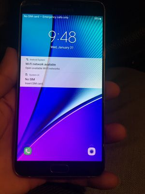 SAMSUNG GALAXY NOTE 5 FACTORY UNLOCKED ANY CARRIER for Sale in Brooklyn, OH