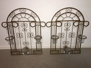 Pair (2) metal wall art candle holders w/ 6 glass inserts for Sale in El Mirage, AZ