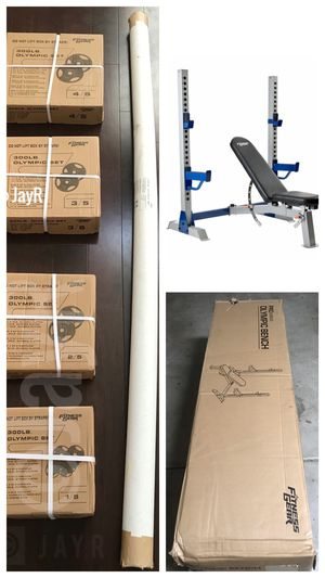 Olympic Pro Weight Bench, Rack, Olympic 7FT Bar with 300lbs Weight Set - Brand New for Sale in Menifee, CA