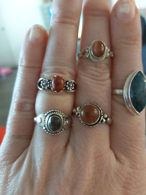 Silver rings with stones 20 each for Sale in Springfield, OR