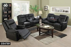 New in box black bonded leather recliner sofa loveseat chair 3pc set special for Sale in College Park, MD