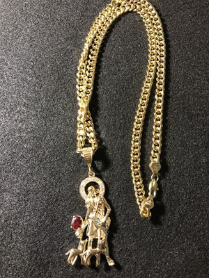 """18kmgl (gold-filled, not plated, or stainless ) San Lazaro pendant with 8mm 28"""" cuban link chain , includes 2 year warranty for Sale in Wesley Chapel, FL"""