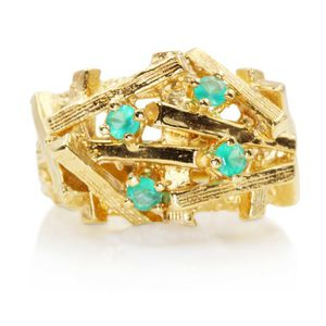 9866 MENS ESTATE 14K GOLD EMERALD RING WEDDING BAND 11.8GRAMS for Sale in San Diego, CA