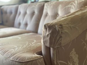 Pink Embroidered Tufted Silk Polyester Sofa for Sale in Merritt Island, FL
