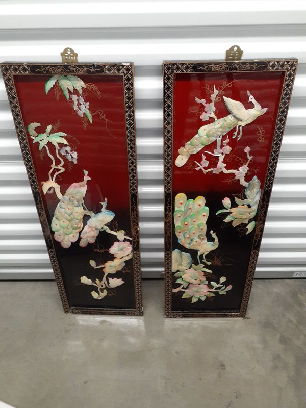 2 Asian•Chinese Wall Plaques Hand-cut Seashells•Birds•Flowers•Leaves•Branches