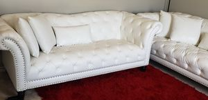 Excellent white leather couch for Sale in Peninsula, OH