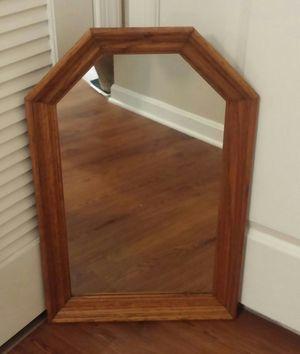 Hexagon Red Oak Wood Wall Mirror for Sale in Germantown, MD