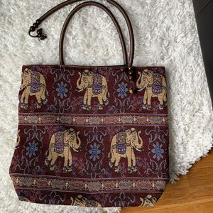 Maroon red gold elephant embroidered tote bag for Sale in San Francisco, CA