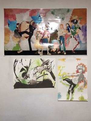 Anime Posters (with dimensions in inches) One Piece, Roronoa Zoro, Killua for Sale in Long Beach, CA
