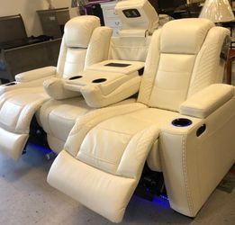 Instock, On Display, From An Actual Store, Whşte Reclining Sofa And Loveseat Set With Adjustable Headrest for Sale in Laurel,  MD